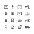 Smart home automation technology icons set of utilities surveillance camera and blueprint isolated vector illustration Stock Photo