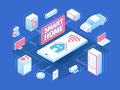 Smart home concept with isometric icons and symbols. Internet of