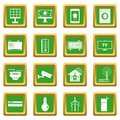 Smart home house icons set green