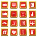Smart home house icons set red
