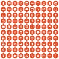 100 smart house icons hexagon orange