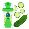 Smart hydrate bottle with cucumber, nutrition smoothie drink.