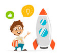 Smart kid inventor and rocket Royalty Free Stock Photo