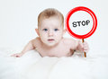 Smart little boy holding a sign Royalty Free Stock Photo