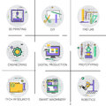 Smart Machinery Industrial Automation Production Icon Set, 3d Printing Tech Resources Fab Lab Collection