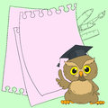 Smart owl cute character. Card with space for text.