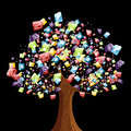 Smart phone application tree Royalty Free Stock Photography