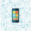 Smart phone with blue icons set flat vector illustration on white background Royalty Free Stock Image