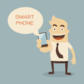 Smart phone businessman cartoon holding Royalty Free Stock Photos