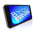 Smart phone byod bring your own device policy job work acronym or abbreviation and words on a blue screen of a cell to convey a Royalty Free Stock Photos