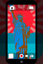 Smart phone camera with the statue of liberty, vector illustration
