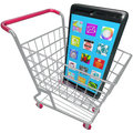 Smart phone cellphone apps shopping cart buying new telephone a or in a to illustrate a mobile Royalty Free Stock Photography