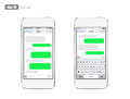 Smart phone chatting sms template bubbles place your own text to the message clouds compose dialogues using samples eps Royalty Free Stock Photos