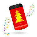 Smart phone christmas sale happy celebrating over white background Stock Photo