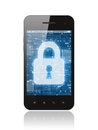 Smart phone with closed lock on white background security concept Stock Photos