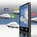 Smart phone cloud computing clouds road signs Royalty Free Stock Photos