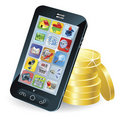 Smart phone and coins illustration Stock Photography