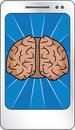 Smart phone concept brain display Stock Photography