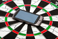 Smart phone on dartboard Stock Photo
