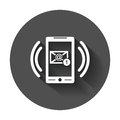 Smart phone with Email symbol on the screen. Royalty Free Stock Photo