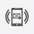 Smart phone with Email symbol on the screen. Vector illustration Royalty Free Stock Photo