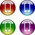 Smart Phone glossy button icon Stock Photo