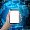 Smart phone mobile della tenuta con il fondo del mondo Fotografia Stock