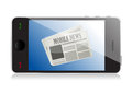 Smart phone with mobile news illustration design over white Stock Photography
