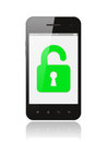 Smart phone with open lock on white background security concept Royalty Free Stock Photography