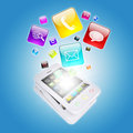 Smart phone and program icons the concept of computer software Royalty Free Stock Images
