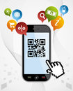 Smart Phone: QR code app vector illustration Royalty Free Stock Photos