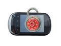 Smart phone security a lock on the with smile icon symbolizing measures Stock Images