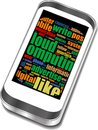 Smart phone with social media words Stock Photography