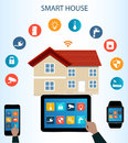 Smart phone tablet smartwatch and internet of things concept home technology networking Stock Photography