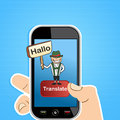 Smart phone translate concept hand holding a with german man and sign translation software application vector illustration layered Royalty Free Stock Photography