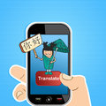 Smart phone translate concept hand with mobile device using an online chinese translation app vector illustration layered for easy Stock Image