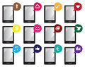 Smart phone Vector Icons with Internet Symbols in Speech Bubbles Royalty Free Stock Photo