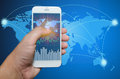 Smart phone view Business shipment graph. Royalty Free Stock Photo
