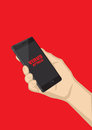 Smart phone virus attack vector illustration hand holding black mobile with red text on touchscreen isolated on saturated red Stock Photography