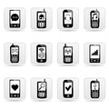 Smart phone web buttons with signs on screens isolated white Stock Photography