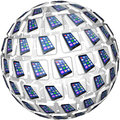 Smart phones app tiles sphere pattern a of application showing cell connected and linked in a communication network Stock Image