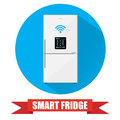 Smart refrigerator or fridge with lcd display Royalty Free Stock Photo