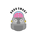 Smart robot. Emblem of Biomechanics of  human brain. Logo for in Royalty Free Stock Photo