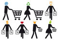 Smart shopper, vector icon set Royalty Free Stock Photos