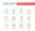 Smart technology line design icons set modern vector plain and pictograms gyrosooter plug air water purifier electric Royalty Free Stock Image