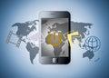Smart telefon med applikationer Royaltyfri Fotografi
