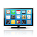 Smart tv display screen with apps icons isolated on white background vector illustration Royalty Free Stock Images