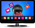 Smart tv internet television concept colorful application icons Stock Image