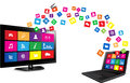 Smart tv and laptop with apps colorful application icons on white background Stock Photos