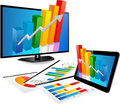 Smart tv and tablet with d graph screen a paper statistic charts Royalty Free Stock Photography